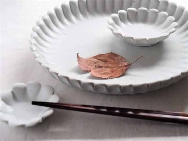 石川裕信輪花8寸皿白2