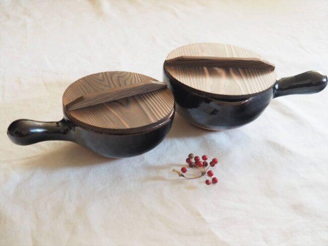 土楽窯 アメ釉片手鍋