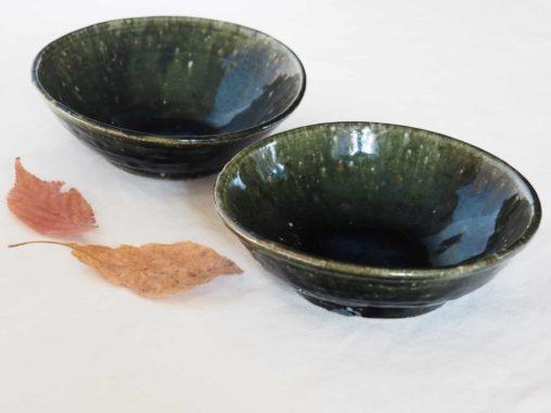 松村英治5寸半鉢青緑