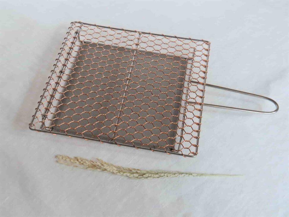 辻和金網 銅手編み手付焼網