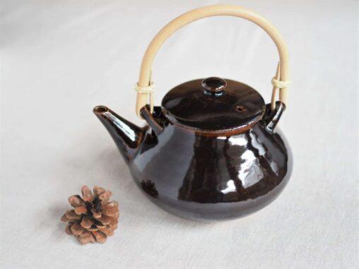 土楽窯 アメ釉土瓶